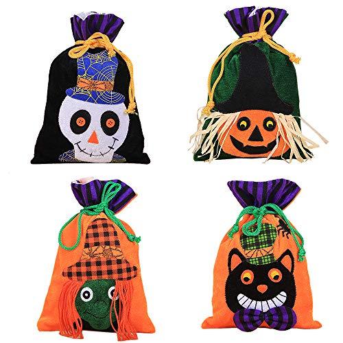 XONOR 4 Stück Halloween Süßes sonst gibt's Saures Tragetaschen - Wiederverwendbare Süßigkeit-Lebensmittelgeschäft-Taschen Halloween-Partei-Bevorzugungs-Taschen