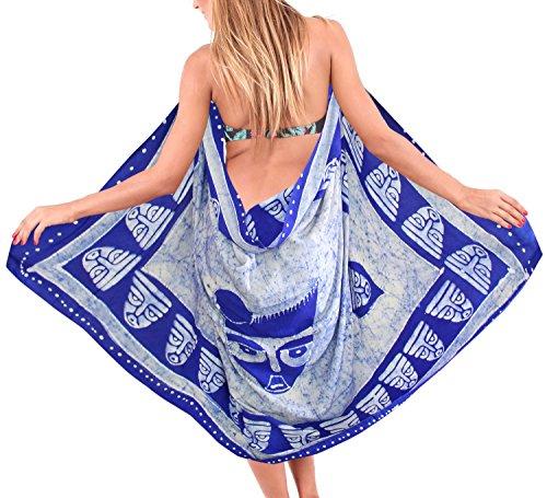 La Leela liscia rayon spiaggia costumi da bagno batik maschera tema coprire sarong 78x42 pollici Twitter Blu 1