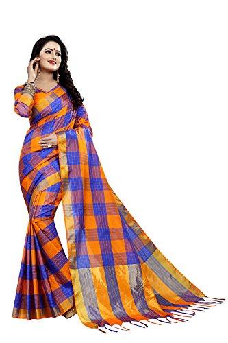 Vrati Fashion Women's Multi Colour Cotton Silk Saree With Unstiched Blouse Material