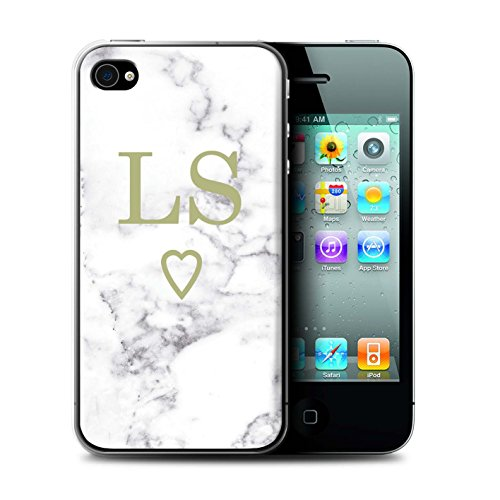 Personalisiert Weiß Marmor Mode Hülle für Apple iPhone 7 / Solide Silber Herz Design / Initiale/Name/Text Schutzhülle/Case/Etui Gold Offenes Herz