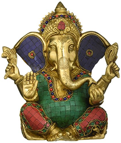 Elefanten-statue Türkis (AONE INDIA Aone Indien 27,9cm Große Ganesh Statue türkis Erfolg Skulptur Elefant Gott Figur lang Ohr Messing vinayak Ganesha + Cash Umschlag (10Stück))
