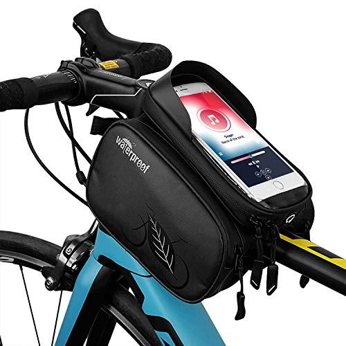 TAKEBEST Fahrrad Rahmentasche, Fahrradrahmen Tasche Fahrrad Tube Lenkertasche Wasserdicht Touchscreen Sonnenblende für Telefon Unter 7.0