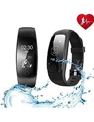 Ancheer Fitness Tracker Pulsera Inteligente Bluetooth, Pantalla OLED impermeable Smartwatch con Monitor de Frecuencia Cardíaca Rastreador de Dormir Pedometer Smart Wristband Band