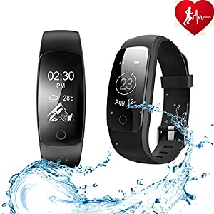 ANCHEER Fitness Tracker,Activity Tracker Heart Rate Monitor Step/Sleep/Calorie Counter Call/SMS Reminder Bracelet Band Waterproof Wireless Bluetooth Wristband Pedometer Smart Watch