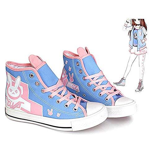 H&Y Overwatch DVA Anime Cosplay Schuhe Segeltuch-Sneaker Segeltuch Hallo-Spitze Sneaker, Cosplay Anime Camouflage Canvas Schuhe,38