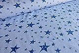 Qualitativ hochwertiger Jersey Stoff (Sterne auf Streifen Blau/Weiß) als Meterware mit Öko-Tex Zertifizierung zum kreativen Nähen von Baby, Kinder- und Damenkleidung, 50 cm
