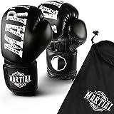 MARTIAL Boxhandschuhe aus Profi Material für lange Haltbarkeit! Kickboxhandschuhe für Kampfsport, MMA, Sparring und Boxen mit optimaler Schlagdämpfung. Handschuhe mit hohem Tragekomfort inkl Beutel! (12oz, Schwarz)