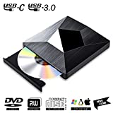 Lecteur CD DVD Externe USB 3.0 with Type C,PIAEK Graveur Lecteur CD DVD Portable RW/ROM Mince ROM Transmission Rapide Câble USB pour Windows 7/8/10,Mac OS,Apple,iMac,Macbook,Laptop,Desktops,PC