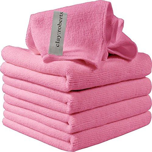 Paños de Limpieza de Microfibra, Paquete de 5, Ideal para el Hogar, la Cocina y el Lugar De Trabajo (Rosa)