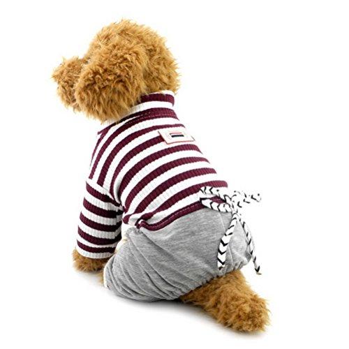 Trendige Designer-kleidung (zunea Streifen Jumpsuit für kleine Hund Katze Haustier Schlafanzüge mit Denim Hose Puppy Baumwolle Sweatshirts Casual, tragen Hund Kleidung Textilien)