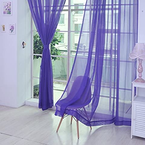 Ouneed® Pure Color Tulle Door Window Curtain Panel Drapé cantonnières