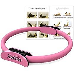 Anilla de pilates-nueva doble asa entrenamiento de resistencia Pilates anillo,diámetro 38 cm por la formación dirigida del tronco, de brazos y de piernas (Pink 38)
