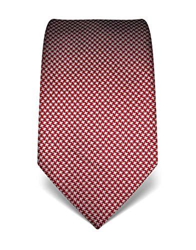 Vincenzo Boretti Herren Krawatte reine Seide Hahnentritt Muster edel Männer-Design zum Hemd mit Anzug für Business Hochzeit 8 cm schmal/breit weinrot/weiß -