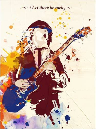 Póster 60 x 80 cm: Alternative Angus Young ACDC Pop Art Style de 2ToastDesign - impresión artística, Nuevo póster artístico