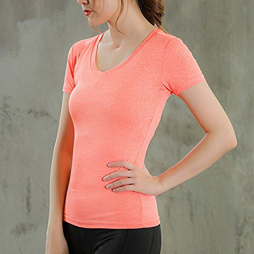 Snewvie Femme T-shirt Manche Courte Col V Séchage Rapide Respirant Sport Fitness Youga Course S-XXL Orange