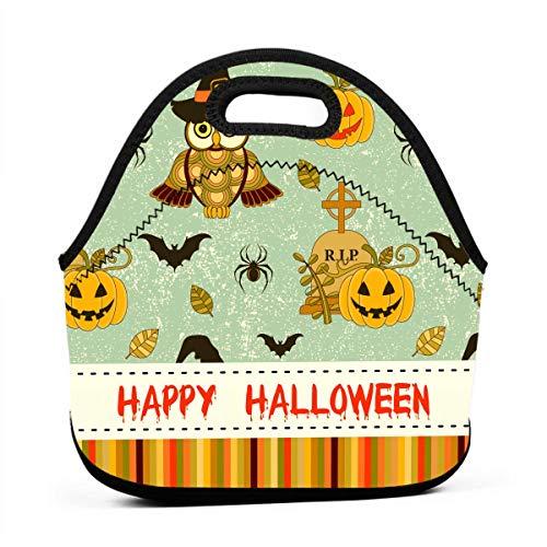 Kinder Lunchtaschen für Mädchen - Happy Halloween Muster mit Kürbis und Eulen, günstige Taschen für Frauen, 3D-Druck, Lunchbox, Lebensmittelbehälter, Picknick-Taschen, Tragetasche
