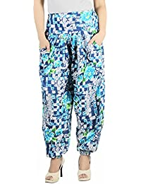 Multicolour Printed Harem Pants For Women - Blue Rayon Printed Harem Pants - All Sizes Available - By Ankkita