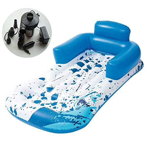 Rcircle Aufblasbare Schwimmende Wasser Hängematte Mit Rückenlehne Und Kissen-tragbaren Schwimmen Nichtstuer-Stuhl-Luft-leichten Pool-Flößen Und Tragbarer Swimmingpool-Matte Für Erwachsene Und Kinder