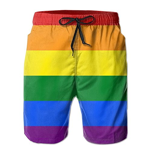 Pride Rainbow Flag Men's Polyester Beachwear Board Shorts Quick Dry