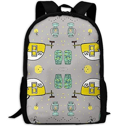 Camper Firefly Mason Jar Lanterns Casual Laptop Backpack School Bag Shoulder Bag Travel ypack Handbag