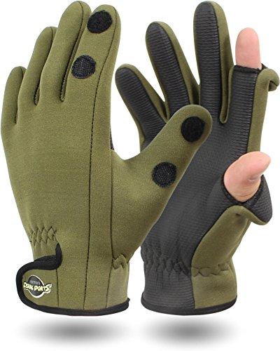 Neopren Anglerhandschuhe Zeigefinger und Daumen zum umklappen, wetterfest [XS-3XL] Farbe Oliv Größe M