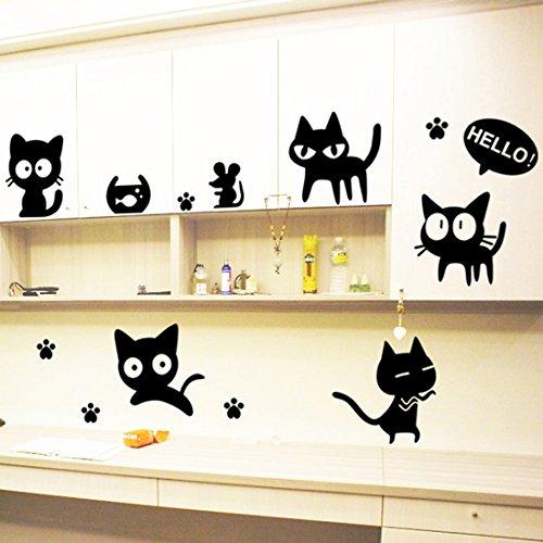Loverly gatos adhesivo decorativo para pared casa de vinilo extraíble papel pintado de salón dormitorio cocina arte imagen PVC Murales de ventana puerta decoración + 3d rana coche adhesivo regalo