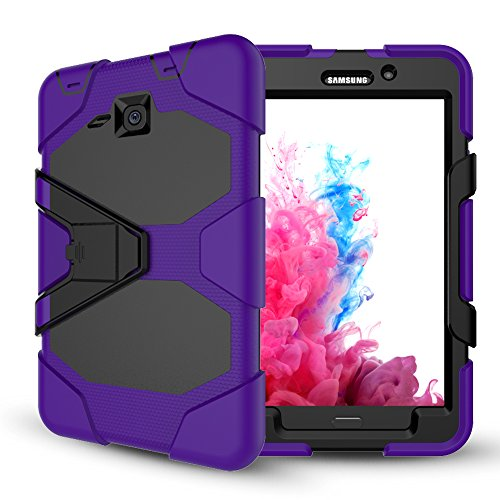 Samsung Galaxy Tab A 7.0Case, jeccy 3in1Ganzkörper-Stoßfest Hybrid Heavy Duty Armor Defender Schutzhülle, Silikon Haut Hard Kunststoff Schutzhülle für Samsung Tab A 7(sm-t280/sm-t285) Violett (Samsung Lite-tablet-fällen)