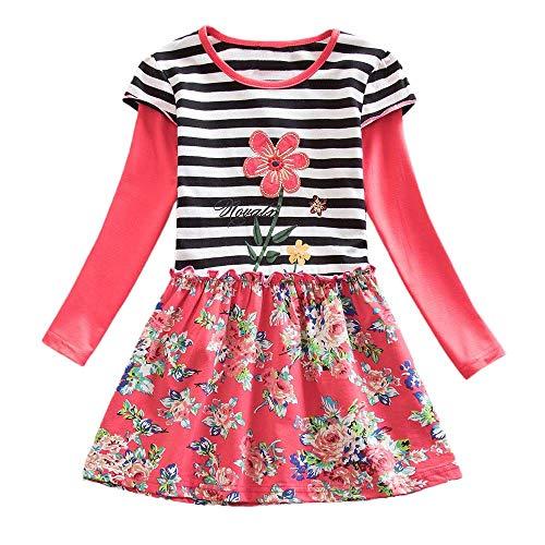 Streifen Punkt Karikatur Party Kleid Kleinkind Mädchen Langarm Outfits ()