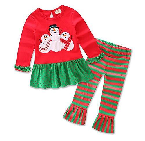 Keephen Navidad Ropa para niños 1-7 años Tesoro Conjunto de 2 Piezas de algodón Navidad a Rayas niña de Dibujos Animados de Alces Conjunto de muñeco de Nieve