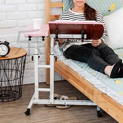 Hyxl top doppio tavolino servitore per pazienti allettati carrello,angolo di altezza regolabile scrivania per laptop rolling comodino pigro computer portatile stand tavolo portatile per divano-rosa