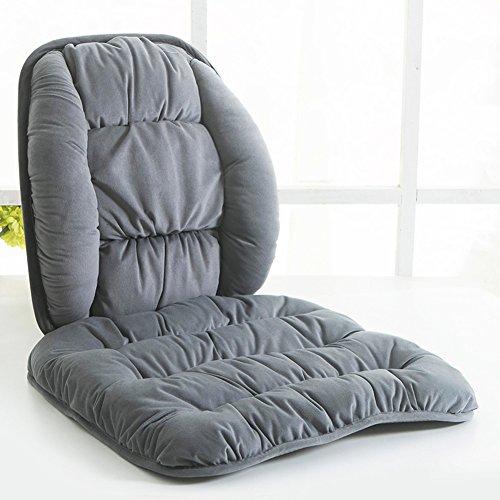 ZUODIANZHC Auto-Stuhl Sitz sitzkissen und rücken, Plüsch Steppkissen Weich Office Computer Stuhl Höhle Lordosenstütze zurück Kissen Sitzauflage-Grau 45x45cm(18x18inch) (Antriebs-gel-kissen)