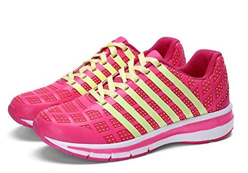Frau fluoreszierende Schuhe atmungsaktive Mesh-Turnschuhe Freizeitschuhe leichte Laufschuhe verpuffen Frau Schuhe Aufzug plum red