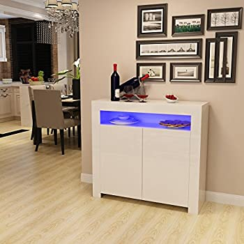 Panana High Gloss Sideboard Storage Cabinet with RGB Multicolor ...