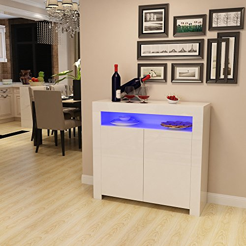 Tuff Concetps High Gloss Sideboard Storage Cabinet with RGB LED Lighting Living Room Dining Room Furniture Cupboard (White)