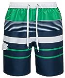 mareno® - Herren Badeshort mit modernem Streifenmuster in grün/marine, Größe 5XL