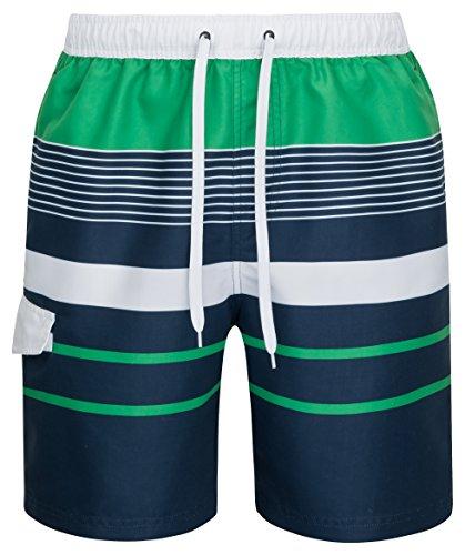 mareno® - Herren Badeshort mit modernem Streifenmuster in grün/Marine Größe S -