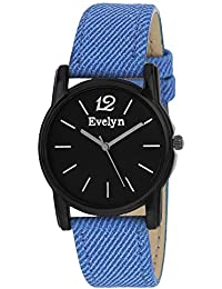 Evelyn Danim Black Dial Blue Strap Stylish Analogue Watch For Girls-Eve-552