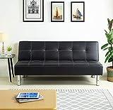 HOGAR24 ES Sofá Cama Clic clac Tapizado En Piel Ecológica, Color Negro Simply