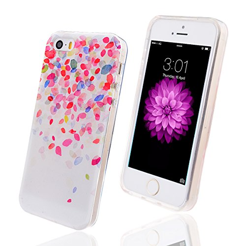 WeLoveCase Casco para Apple iPhone 5/5S Silicona TPU Suave Funda Cascara Protección Anti Polvo Absorción de Choque Gel Ligera Resistente Fina Borde Transparente Diseño Creativo Original de Moda Nuevamente (iPhone5/5S , Dibujo Pétalos)