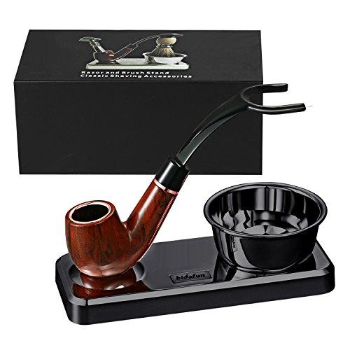 Bidafun Razor en plastique de luxe de et support de brosse - le meilleur support de rasoir de sûreté de conception de forme de pipe de tabac ceci prolongera la vie de votre brosse de rasage