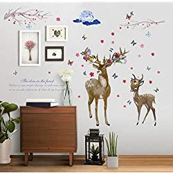 Kssim Cerf Prunier Branche Autocollant Mural Amovible Tv Fond Home Decor Salon Autocollant Mural Stickers Muraux 88 * 129 Cm