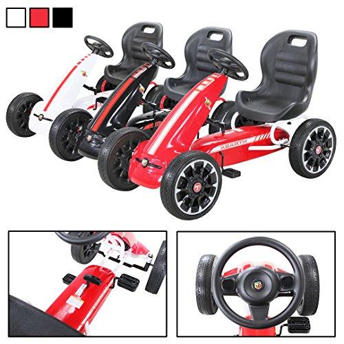 Actionbikes Motors Miweba Gokart Abarth Lizenziert Kinder Pedal Auto Tretauto Kinderfahrzeug Cart Eva Reifen in vielen Farben (Rot)