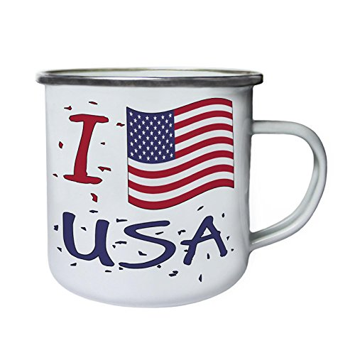 Ich liebe Usa Amerika neue Karte Geschenk Retro, Zinn, Emaille 10oz/280ml Becher Tasse g302e