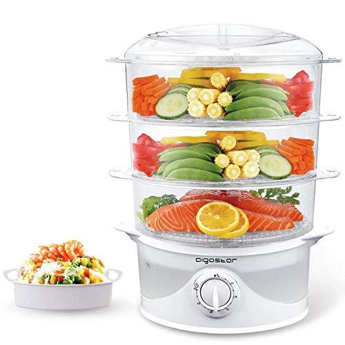 Aigostar Fitfoodie 30CFO - Vaporera eléctrica para cocinar alimentos al vapor con potencia de 800 W y temporizador. Libre de BPA, dispone de 3 recipientes de cocinado. Diseño Exclusivo.