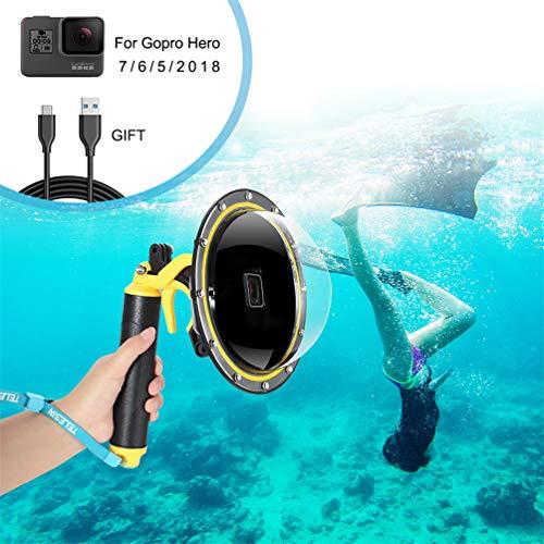 Dome Port Boîtier étanche pour GoPro Hero 7 6 5 2018, Boîtier étanche pour GoPro Accessoire avec Pistolet à gâchette et Flottant Grip Photographie sous-Marine. (for GoPro Hero 5 6)