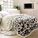 Super Soft Plush Raschel Throw Blanket Cover Double Thick Warm Winter Luxury Grid Style Design