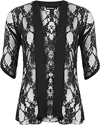 Ladies Lace Open Cardigan Womens Top - Black - 12-14