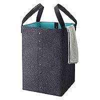 Odibess Laundry Basket, Foldable ECO-friendly Laundry Basket, Felt Storage Basket with Leather Handle for Clothing and Toy Organization