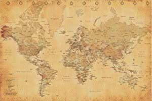 Mappa del monto Vintage Style, Poster (91 x 61 cm) by 1art1