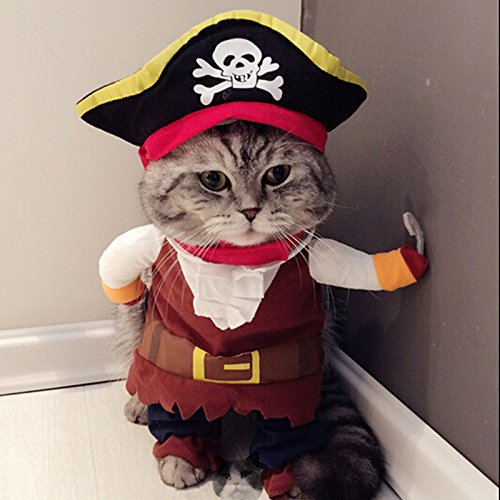 Caribbean Pirate Cat Costume Funny Dog Pet Clothes Suit Corsair Dressing up Party Apparel Clothing for Dogs Cat Plus Hat (M)